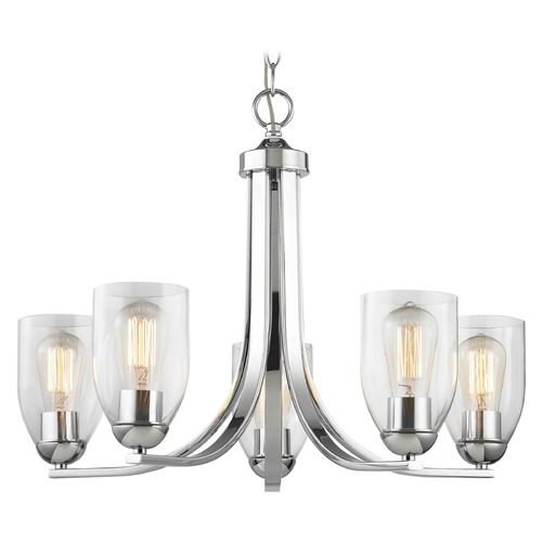 Design Classics Lighting Chrome Chandelier with Clear Dome Glass and 5-Lights 584-26 GL1040D