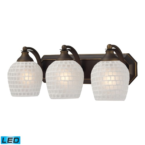 Elk Lighting Elk Lighting Bath and Spa Aged Bronze LED Bathroom Light 570-3B-WHT-LED
