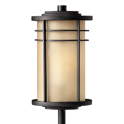 Hinkley Lighting Path Light with Amber Glass in Museum Bronze Finish 1516MR