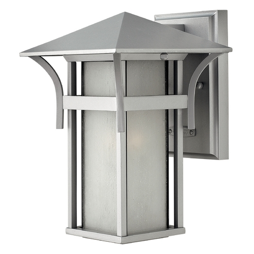 Hinkley Lighting Outdoor Wall Light with White Glass in Titanium Finish 2570TT-GU24