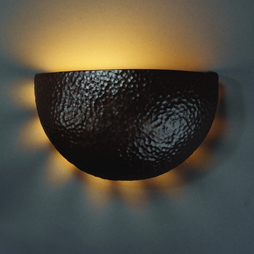 Justice Design Group Sconce Wall Light in Hammered Iron Finish CER-9050-HMIR
