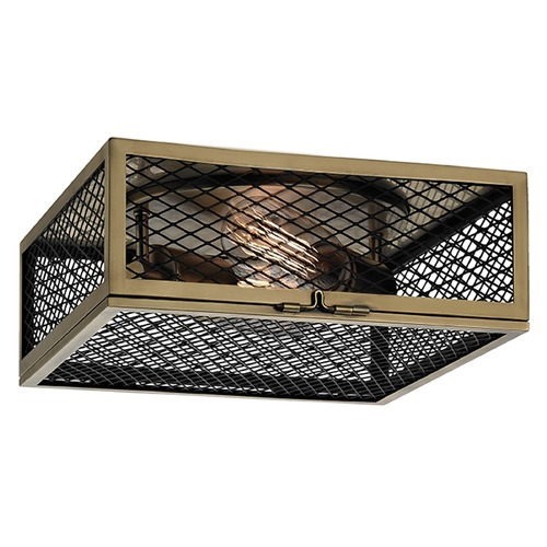 Hudson Valley Lighting Brookline 2 Light Flushmount Light Square Shade - Aged Brass 4010-AGB