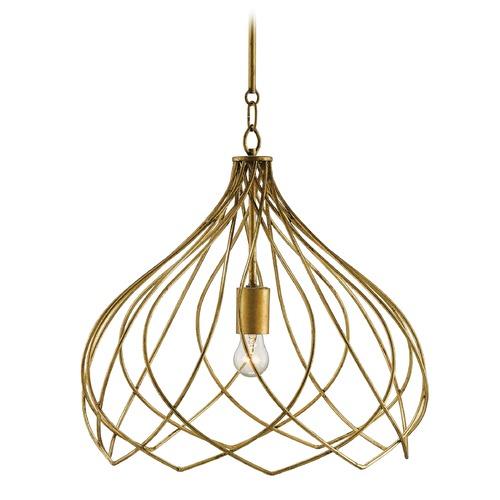 Currey and Company Lighting Currey and Company Coralie Dark Antiquegold Leaf Pendant Light 9000-0048