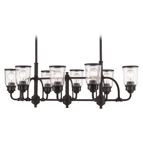 Livex Lighting Seeded Glass Island Light Bronze Livex Lighting 40028-07