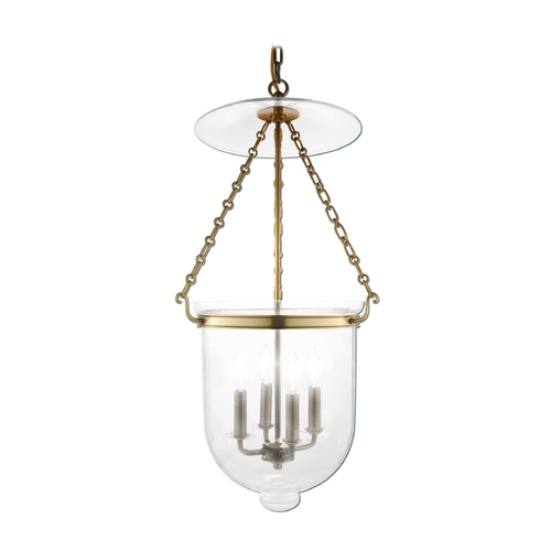 Hudson Valley Lighting Pendant Light with Clear Glass in Aged Brass Finish 255-AGB-C1