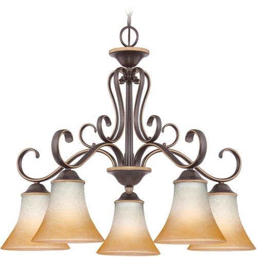 Quoizel Lighting Chandelier with Brown Glass in Palladian Bronze Finish DH5105PN