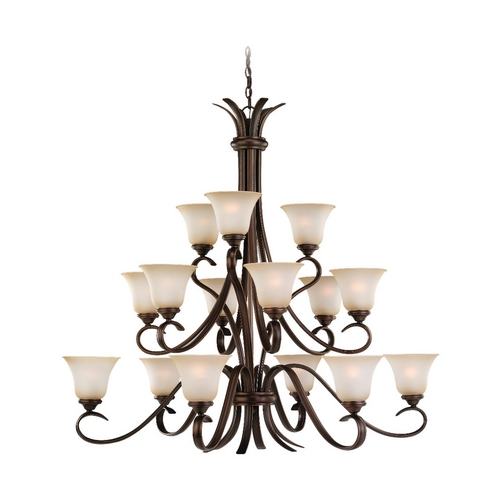 Sea Gull Lighting Chandelier with Beige / Cream Glass in Russet Bronze Finish 31363-829