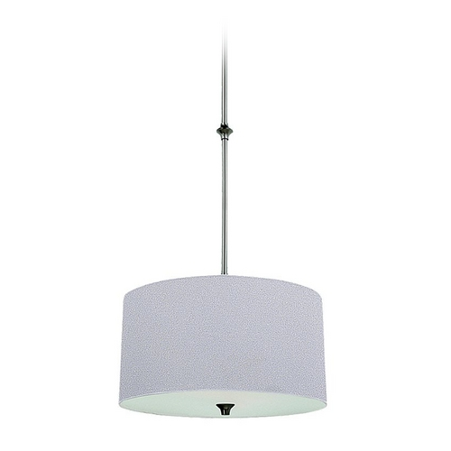 Sea Gull Lighting Drum Pendant Light with White Shade in Brushed Nickel Finish 65952-962