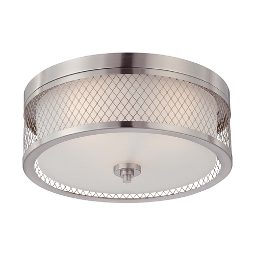 Nuvo Lighting Modern Flushmount Light with White Shades in Brushed Nickel Finish 60/4691