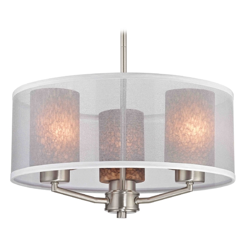 Design Classics Lighting Palatine Fuse Art Glass Satin Nickel Pendant Light with Cylinder Glass 1723-09 GL1016C
