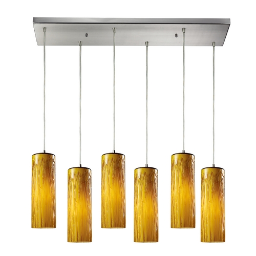 Elk Lighting Modern Multi-Light Pendant Light with Amber Glass and 6-Lights 551-6RC-MA