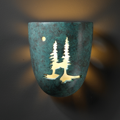 Justice Design Group Sconce Wall Light in Verde Patina Finish CER-9525-PATV