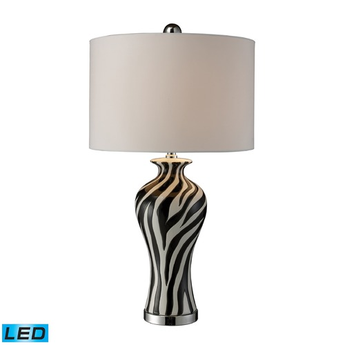 Dimond Lighting Dimond Lighting Black, White, Chrome LED Table Lamp with Drum Shade D1882-LED