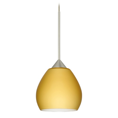 Besa Lighting Besa Lighting Tay Satin Nickel Mini-Pendant Light with Bell Shade 1XT-5605VM-SN