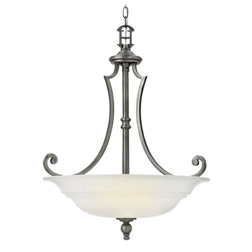 Hinkley Lighting Hinkley Lighting Plymouth Polished Antique Nickel Pendant Light with Bowl / Dome Shade 4244PL