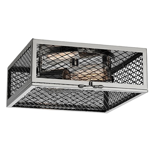 Hudson Valley Lighting Brookline 2 Light Flushmount Light Square Shade - Polished Nickel 4010-PN