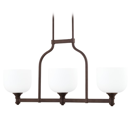 Quorum Lighting Quorum Lighting Richmond Oiled Bronze Island Light with Bowl / Dome Shade 6911-3-186