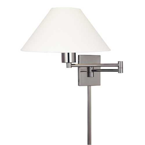George Kovacs Lighting Modern Swing Arm Lamp with White Shade in Matte Brushed Nickel Finish P4358-1-603