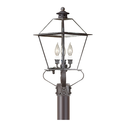 Troy Lighting Post Light with Clear Glass in Charred Iron Finish PCD9135CI