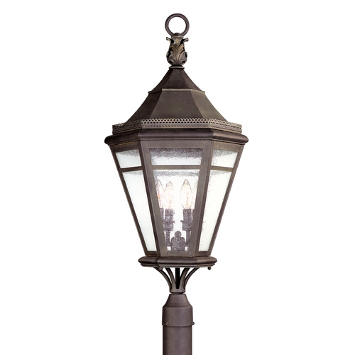 Troy Lighting Post Light with Clear Glass in Natural Rust Finish P1275NR