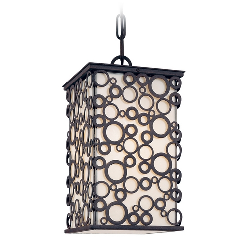 Troy Lighting Modern Outdoor Hanging Light with White Glass in French Iron Finish F5014FI