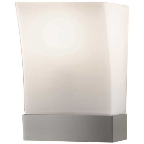 Feiss Lighting Modern Sconce Wall Light with White Glass in Brushed Steel Finish WB1482BS