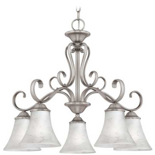 Quoizel Lighting Chandelier with Grey Glass in Antique Nickel Finish DH5105AN