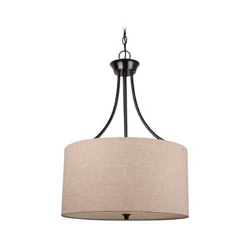 Sea Gull Lighting Drum Pendant Light with Beige / Cream Shade in Burnt Sienna Finish 65953-710