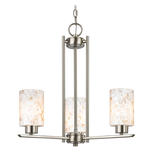 Design Classics Lighting 3-Light Mini Chandelier with Mosaic Glass in Satin Nickel 1121-1-09 GL1026C