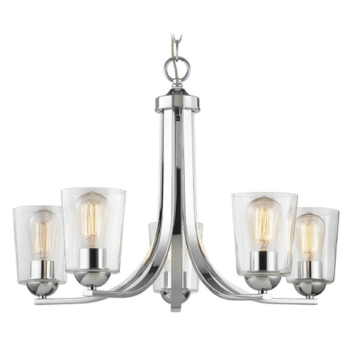 Design Classics Lighting Chrome Chandelier with Clear Cylinder Glass and 5-Lights 584-26 GL1027-CLR