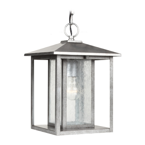 Sea Gull Lighting Outdoor Hanging Light with Clear Glass in Weathered Pewter Finish 62027-57