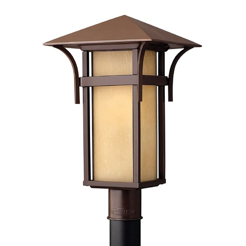 Hinkley Lighting LED Post Light with Amber Glass in Anchor Bronze Finish 2571AR-LED