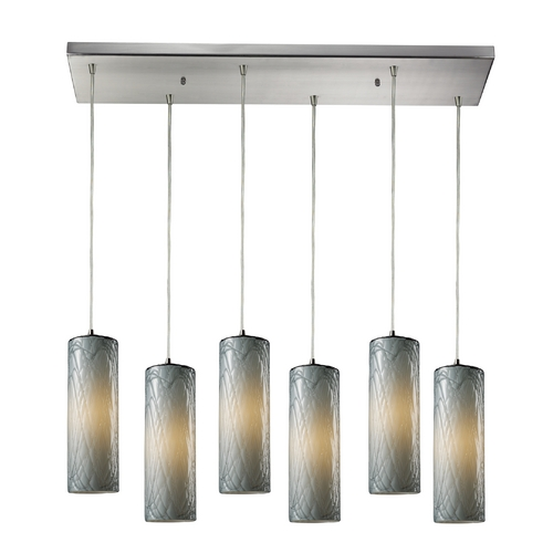 Elk Lighting Modern Multi-Light Pendant Light with Grey Glass and 6-Lights 551-6RC-MD
