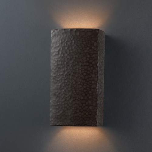 Justice Design Group Sconce Wall Light in Hammered Iron Finish CER-0915-HMIR