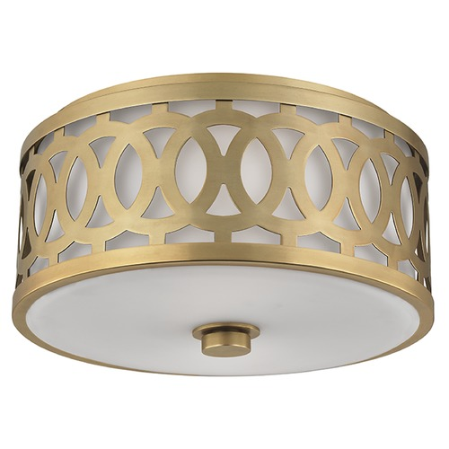 Hudson Valley Lighting Genesee 2 Light Flushmount Light Drum Shade - Aged Brass 4314-AGB