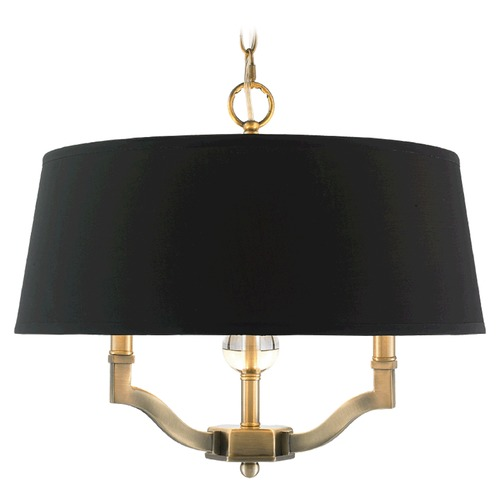 Golden Lighting Golden Lighting Waverly Aged Brass Pendant Light with Empire Shade 3500-SF AB-GRM