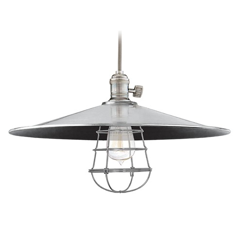 Hudson Valley Lighting Hudson Valley Lighting Heirloom Historic Nickel Pendant Light with Coolie Shade 8002-HN-ML1-WG