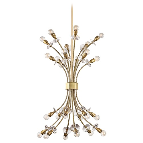Hudson Valley Lighting Mid-Century Modern Brass Chandelier 24-Lt Cluster Light by Hudson Valley 2724-AGB