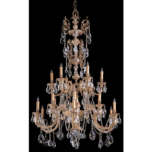 Crystorama Lighting Crystorama Novella 2-Tier 18-Light Crystal Chandelier in Olde Brass 2718-OB-CL-MWP