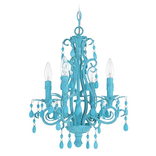 Craftmade Lighting Craftmade 4-Light Mini-Chandelier in Turquoise Finish 25614-TQ