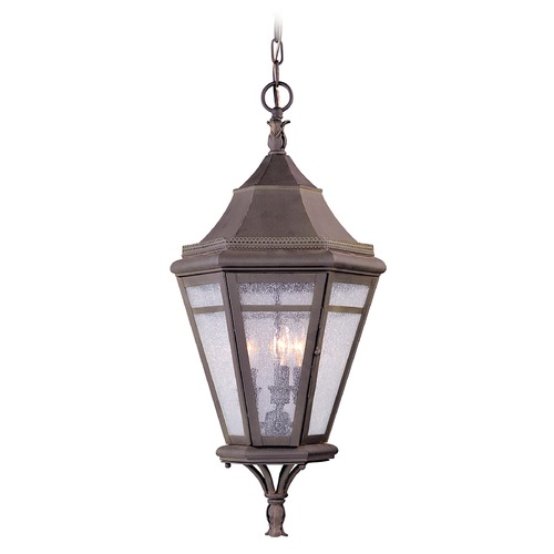 Troy Lighting Outdoor Hanging Light with Clear Glass in Natural Rust Finish F1276NR