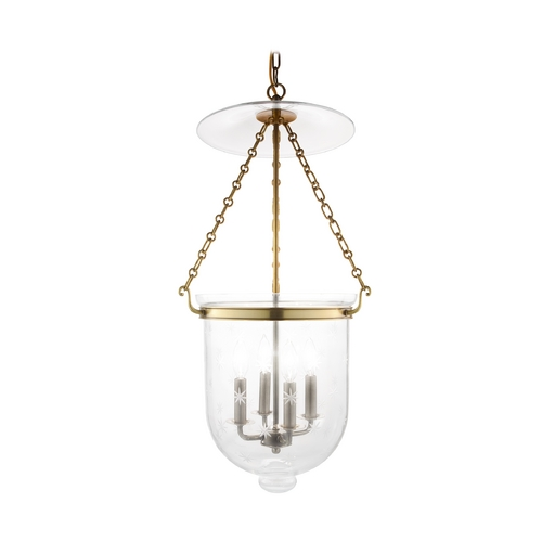 Hudson Valley Lighting Pendant Light with Clear Glass in Aged Brass Finish 255-AGB-C3