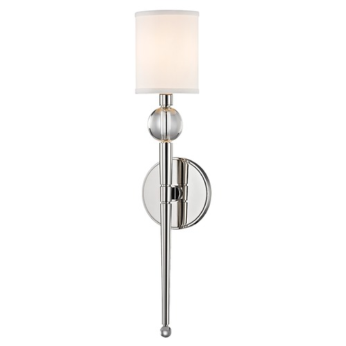 Hudson Valley Lighting Modern Sconce Wall Light with White Shade in Polished Nickel Finish 8421-PN