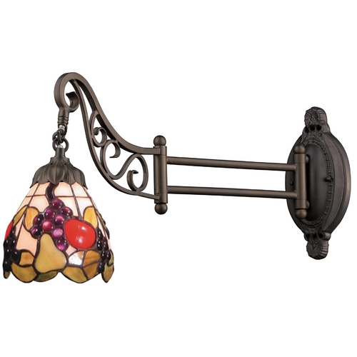 Elk Lighting Swing Arm Lamp with Tiffany Glass in Bronze Finish 079-TB-19
