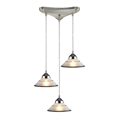 Elk Lighting Modern Multi-Light Pendant Light with Art Glass and 3-Lights 1477/3