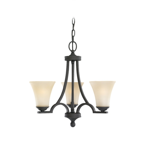 Sea Gull Lighting Sea Gull Lighting 3-Light Mini Chandelier with Beige/Cream Glass in Blacksmith 31375-839