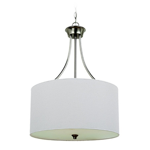 Sea Gull Lighting Drum Pendant Light with White Shade in Brushed Nickel Finish 65953-962