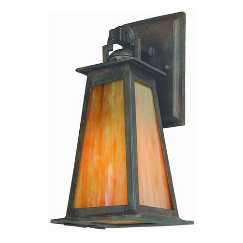 Troy Lighting Outdoor Wall Light with Beige / Cream Glass in Statuary Bronze Finish B9881SBZ-D