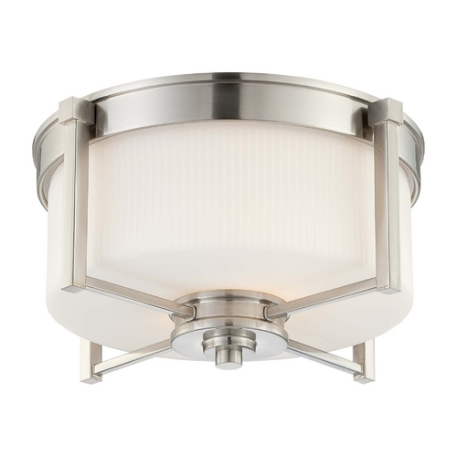 Nuvo Lighting Modern Flushmount Light with White Glass in Brushed Nickel Finish 60/4711