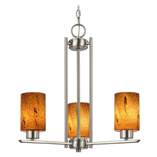 Design Classics Lighting Chandelier with Brown Art Glass in Satin Nickel - 3-Lights 1121-1-09 GL1001C